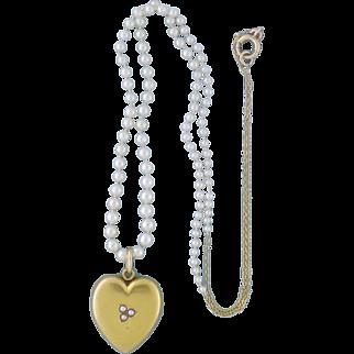 Antique Edwardian Sloan & Co 14K Heart Locket & Pearl Chain Necklace