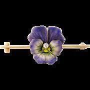 Antique Art Nouveau 14K Enamel Enameled Diamond Pansy Flower Bar Pin Brooch