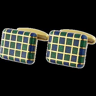 Vintage Men's 18K Gold & Enamel Checker Motif Cufflinks