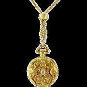 Antique Art Nouveau Gruen 18K Gold Diamond Lady's Pendant Watch, GF Chain