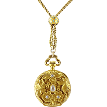 Antique Art Nouveau Gruen 18K Gold Diamond Lady's Pendant Watch, GF Chain