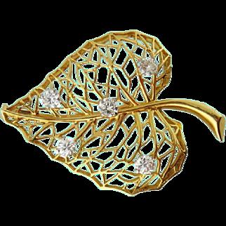 Vintage Estate Cartier 18K Yellow Gold & Diamond Leaf Brooch, France