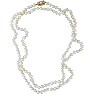 """Estate Mikimoto Akoya Cultured Pearl 37"""" Strand Necklace 5.5-6mm 14K YG Clasp"""