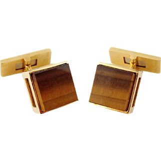 Vintage Estate French 18K Yellow Gold & Tiger's Eye Cufflinks