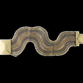 Vintage 14K Tri-color Gold 12 Row Wheat Chain Bracelet, c.Mid-Century