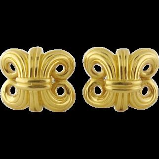 Estate Lagos 18K Yellow Gold Wheat Earrings Ear Clips