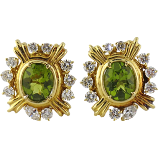 Vintage Estate 18K Gold, Peridot & 2ct Diamond Cluster Earrings
