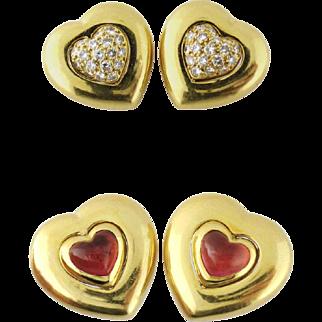 Vintage Boucheron Paris 18K Reversible Swivel Diamond Tourmaline Heart Ear Clips