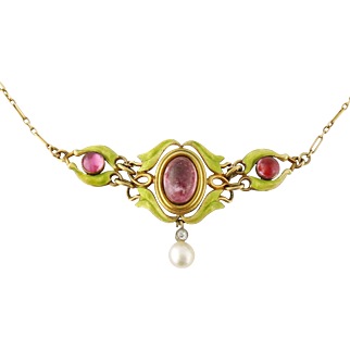 Antique Art Nouveau 18K Gold Enamel Pink Tourmaline Pearl Leaves Necklace