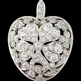 Antique Edwardian 18K Platinum Diamond Four-Leaf Clover in Heart Brooch Pendant