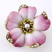 Antique Art Nouveau 14K Gold Enamel Enameled Pearl Large Flower Blossom Pin