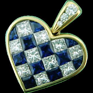 Estate Tiffany & Co 18K Gold Sapphire & Diamond Checkerboard Heart Pendant