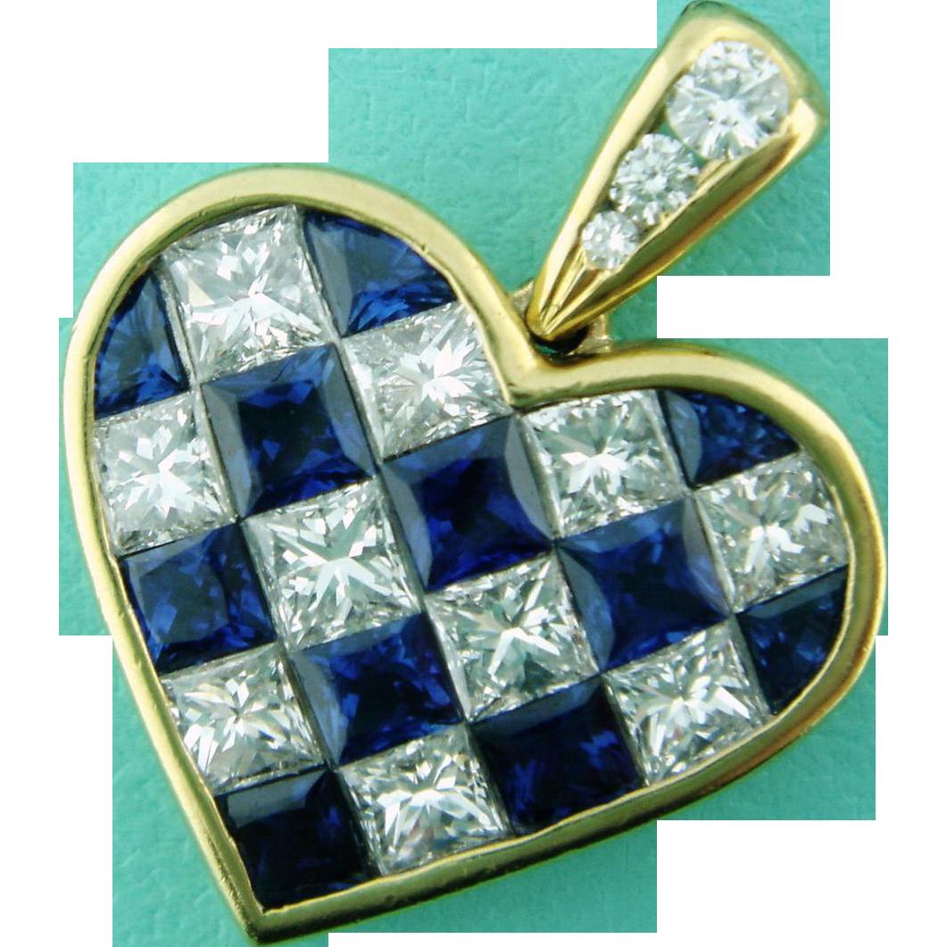Estate Tiffany Co 18K Gold Sapphire Diamond Checkerboard Heart Fr