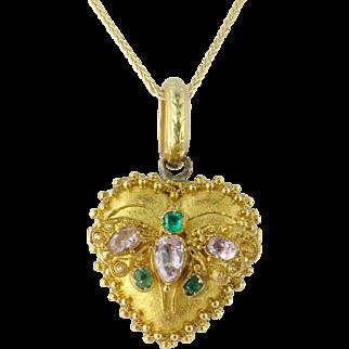 Antique Georgian 14K Gold Topaz Turquoise Heart Locket Pendant c.1830s