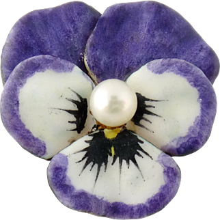 Vintage 14K Enamel Enameled Pearl Pansy Pin Pendant