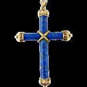 Vintage 14K Yellow Gold Lapis Lazuli Large Cross Pendant