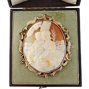Antique Victorian 15K Gold Extra Large XL Shell Cameo Brooch Pendant with Box
