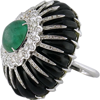 Estate 14K White Gold 2ct Emerald Diamond Carved Onyx Cocktail Ring