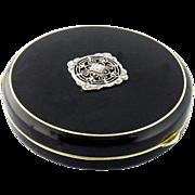 Art Deco Tiffany & Co 14K Gold Enamel & Diamond Powder Compact Box , c.1925