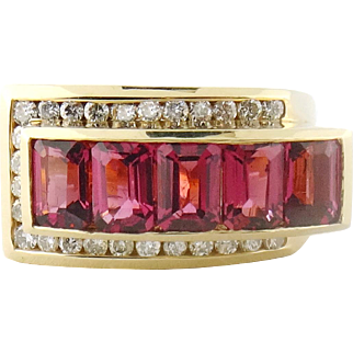 Vintage Charles Krypell 18K/14K Gold Diamond Tourmaline Band Ring, Sz:5.25