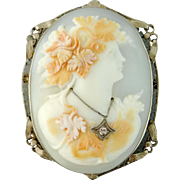 Antique 14K White Gold Large Shell Bacchante Cameo Brooch Pendant