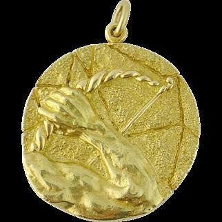 Vintage Tiffany & Co 18K Gold XL Sagittarius Zodiac Sign Pendant, Italy