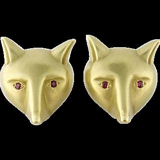 Estate Barry Kieselstein Cord 18K Gold Fox Head Large Earrings Clips, c.1986