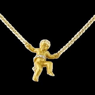 Estate Carrera y Carrera 18K Yellow Gold Diamond Cherub Necklace