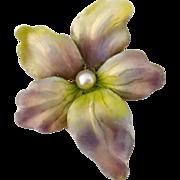 Antique Art Nouveau 14K Gold Iridescent Enamel Pearl Flower Pendant
