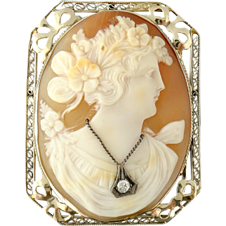 Antique 14K Gold Large Shell Female Lady Cameo Brooch Pendant