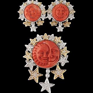 Estate G. Nardi 18K 5ct Diamond Coral Moonface Sunface Brooch Earrings Set