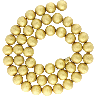 """Vintage Florentine Textured 18K Yellow Gold Bead Ball Necklace, Length 24"""""""