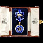 Antique 18K Gold Enamel Hunting Case Lapel Watch & Fleur de Lis Watch Pin