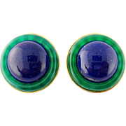 Vintage Estate Cellino 18K Lapis Lazuli Chalcedony Button Style Earrings Clips