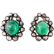 Antique Georgian 14K Gold, Silver, Emerald and Rose-cut Diamond Cluster Earrings, c. early 1800s