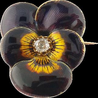 Antique Victorian 14K Gold Guilloche Enamel Enameled Diamond Pansy Pin Brooch