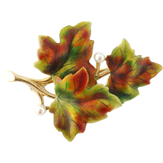 Antique Art Nouveau 14K Yellow Gold Enamel Pearl Maple Leaves Pin Brooch c.1900
