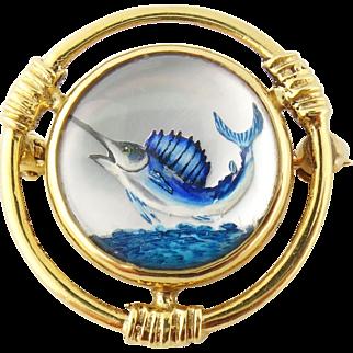 Vintage 14K Yellow Gold Reverse Intaglio under Crystal Swordfish Tie Pin