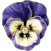Vintage 14K Enamel Enameled Diamond Large Pansy Brooch Pin Pendant