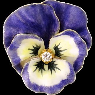 Vintage 14K Enamel Enameled Diamond Large Pansy Brooch Pin Pendant