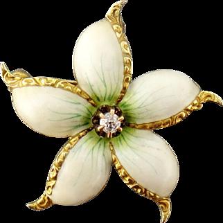 Antique Art Nouveau 14K Gold Diamond White Flower Brooch Pin Pendant
