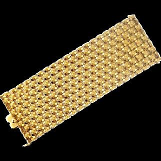 "Superb Vintage 18K Gold 2.75"" Wide Flexible Link Italian Bracelet, Mid-Century"