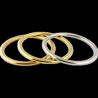 Vintage Estate Tiffany & Co 18K Three-Color Gold Set of Three Bangle Bracelets