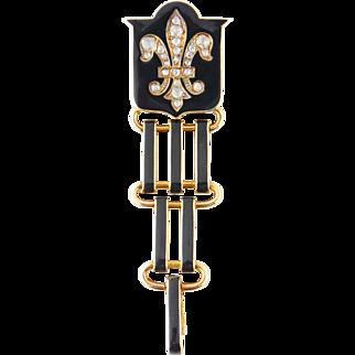 Antique Tiffany & Co 14K Gold, Black Enamel & Rose-cut Diamond Fleur de Lis Watch Fob Pin