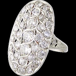 Antique Edwardian Platinum 1.95ct Old Mine-cut Diamond Cluster Dinner Ring