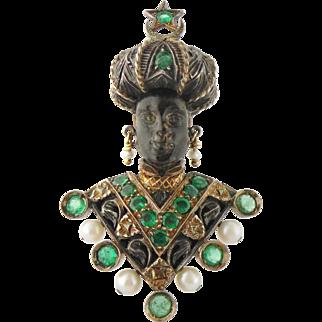 Vintage G. Nardi 18K Gold Emerald Pearl Moonstone Blackamoor Moretto Clip Brooch