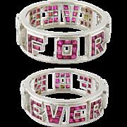 "Art Deco Platinum Synthetic Ruby Diamond Custom Made ""Forever Love"" Ring Band"