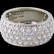 Estate Kurt Wayne Platinum 3ct Diamond Half Eternity Wide Band Ring, Sz 6.25