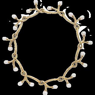 Estate Angela Cummings 18K Gold & Freshwater Pearl Necklace
