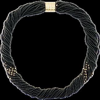 Vintage 14K Yellow Gold & Onyx Bead Multi-Strand Torsade Necklace